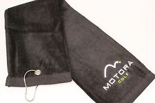 4 x Large MotoraTri Fold Golf Bag Towel Golf Club/Ball Cleaning Black White Logo
