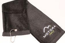 4 x Large MotoraTri Fold Golf Bag Towel Golf Club/Ball Cleaning Black White Logo