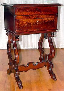 WORK STAND, desk, nightstand, Renaissance Victorian, figured walnut, 34t, c1870