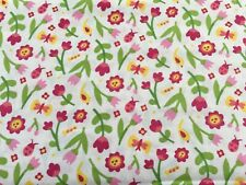 Bright Floral, Pink & Yellow 100% Cotton Fabric by the 1/2 metre Craft/Quilting