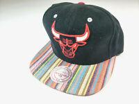 Chicago Bulls NBA Mitchell & Ness Black Snapback Hat Cap Rainbow Basketball RARE