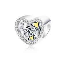 Love Script Heart Charm Bead Silver Sterling 925 fit Bracelet Family Mother Gift