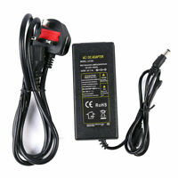 Power Adapter 3 Pin UK DC12V CCTV/LED Strip/PC Electric Supply Connector 1A -10A
