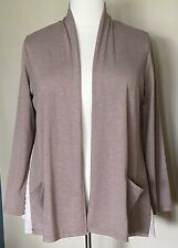 LOGO Lounge by Lori Goldstein Cardigan with Layered Hem Detail Cocoa Brown Sz L