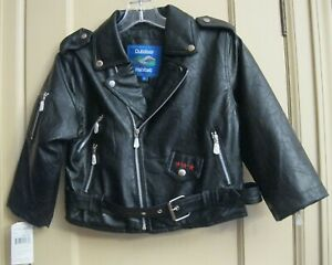 Boys Embroidered USA Quilt Lined Black Motorcycle Jacket - Size 7T - NWT