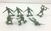 Vintage Marx Army Men Lot of 7 Battleground Era Plastic Soldiers Teal Green