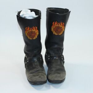 Harley-Davidson Motorcycle Black Men Flame Boots Buckle Strap Distressed 10 D