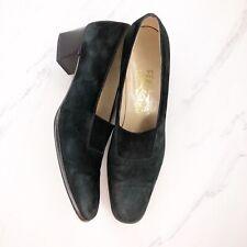 Salvatore Ferragamo Black Suede Heels Pumps Shoes Size 8.5AAA Womens