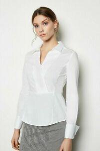Karen Millen White Crisp Wrap Stretch Cotton Fitted Long Sleeve Formal Shirt Top