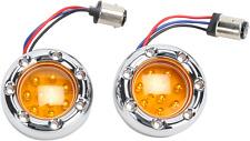 Arlen Ness 1157 Chrome Amber LED Fire Ring Motorcycle Turn Signal Kit Harley
