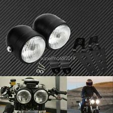 Universal Motorcycle Twin Headlight Double Dual Lamp w/ Bracket Mouting Kit