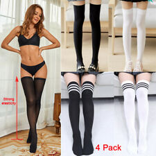 4 PACK Sexy Lingerie Hold-ups Women's Semi-sheer Ladies Knee Stockings Stay-ups