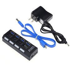 NEU 4 Anschlüsse USB 3.0 HUB Mit An /Aus-schalter Strom Adapter Für Desktop