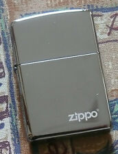 PLAIN BLACK ICE WITH LOGO ZIPPO LIGHTER FREE P&P FREE FLINTS
