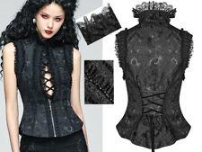 Haut top gilet zippé dentelle brodé gothique victorien baroque corset Punk Rave
