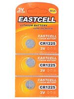 3 x CR1225 3V Lithium Knopfzelle 50 mAh ( 1 Blistercard a 3 Batterien ) EASTCELL