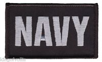 NAVY 2 X 3  EMBROIDERED UNIFORM VEST SHIRT BLACK PATCH WITH HOOK LOOP