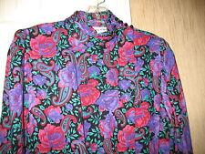 PATTY O'NEIL VTG RED & PURPLE FLORAL DRESS - SZ 8 - EXCELLENT