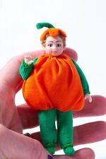Dollhouse Miniatures Porcelain Little Boy Dressed in Pumpkin Costume Halloween