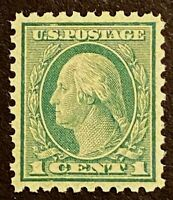 US Stamps, Scott #543 1c Perf 10 1921 Washington XF+ M/NH. Beautiful centering.