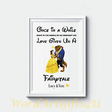 Personalised Engagement Disney Beauty and The Beast Couples Wedding Gift