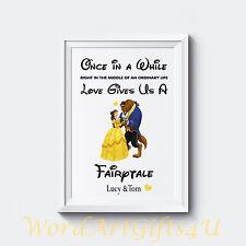 Personnalisé fiançailles disney beauty and the beast couples cadeau mariage