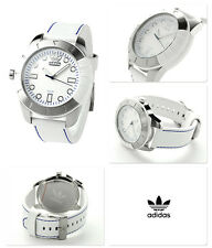 NEW ADIDAS SILVER TONE,WHITE LEATHER BAND WITH BLUE STITCHES WATCH ADH3036