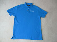 Coogi Polo Shirt Adult 2XL XXL Blue White Spell Out Rugby Hip Hop Rap Mens