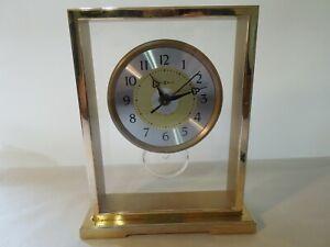 Vintage Howard Miller Desk / Shelf Clock w/ Floating Dial Brass Frame Glass Lens