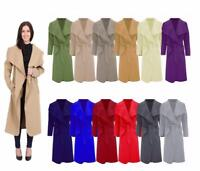 Ladies Italian Long Duster Coat Women French Belted Trench Waterfall Jacket 8-26