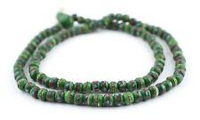 Green Inlaid Yak Bone Mala Beads 6mm Nepal Round Large Hole 21 Inch Strand