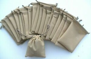 """Lot-20-Small Drawstring Pouch Storage Bags 6.25""""x 4.5"""" Beige Polyester"""
