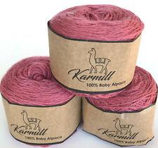 Alpaca Wool Skeins 100% Baby Alpaca Yarn Lot of 3 Rose Color 9365