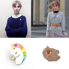 Unique Horse Head Unicorn Shape Corsage Shirt Collar Metal Brooch Pins Jewelry