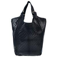 Stella Dutti Italian Made Black Embossed Leather Oversized Hobo Bag