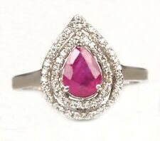 925 Sterling Silver 1.65 Carat Natural Pink Tourmaline Pear Cut Engagement Ring