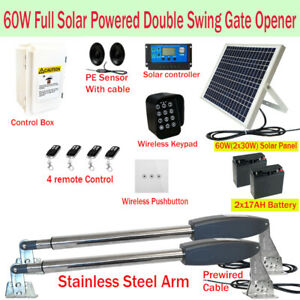 Full Solar Powered Double Swing Farm Gate Opener Automatic Motor 60W 17AH