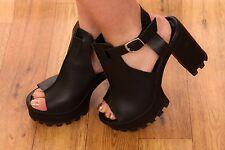 chunky black leather t-bar peeptoe openback ASOS heels size 6