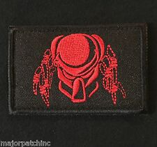 PREDATOR FACE USA ARMY MORALE BLACK OPS RED VELCRO® BRAND FASTENER BADGE PATCH