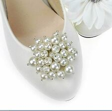 2 pcs Cream White Faux Pearl Wedding High-heel Shoe Clips Charms