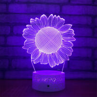 Sunflower 3D Night Light 7 Color Change LED Desk Lamp Touch Room Decor