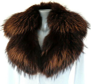 Fur Scarf Finnraccoon Collar fuchs Fur Reverse Coat Jacket Men's Fashion Braun