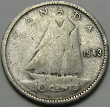 1943 10C Canada 10 Cents, Silver Canadian Dime, Silver, #12470