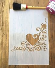 Heart Love Corner Swirls Stencil, A4 Multi-use, furniture, walls, floors, crafts