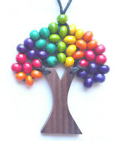 Wooden Bead TREE OF LIFE Necklace Funky Bright Colours Rainbow