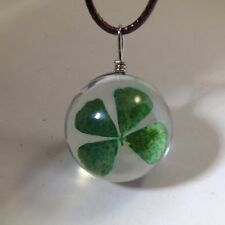 Real 4 LEAF CLOVER PENDANT NECKLACE Clear Glass Bubble Silver Tone Lucky Irish
