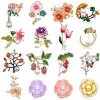 Fashion Pearl Butterfly Flower Brooch Pin Rhinestone Women Jewelry Gift Party