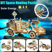 3D Wooden Puzzle Cut Solar Energy Marble Run Kits Toy Gift for Adults Kids