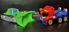 Lot of 2 Playskool Heroes Transformers Rescue Bots Rescan Boulder Optimus Prime