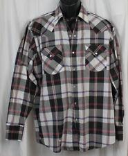 Vtg Ely Cattleman Shirt Western Rockabilly Cowboy Checked Plaid Pearl Snaps L